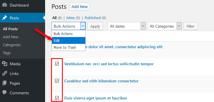 bulk select wordpress posts