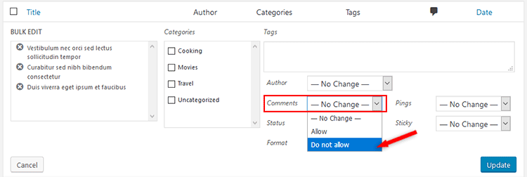 disable comments multiple wordpress posts
