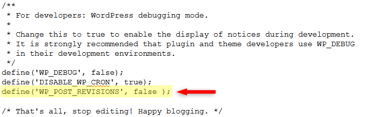 disable wordpress revisions code