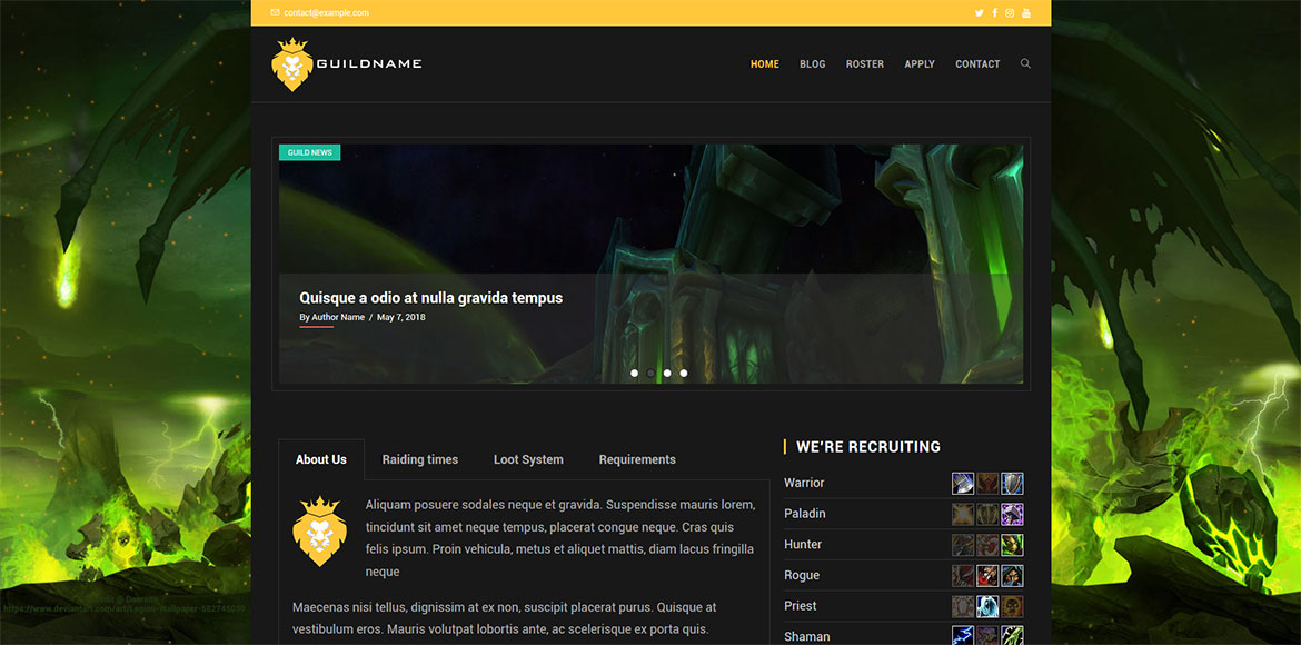 Ready-made WordPress Website for WoW Guilds