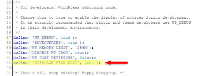 disable wordpress theme and plugin editor in wp-config.php