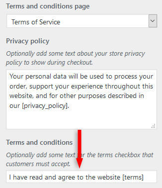 edit woocommerce terms and conditions checkbox text