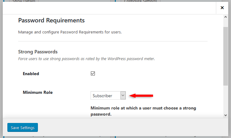 itheme security minimum role password requirements