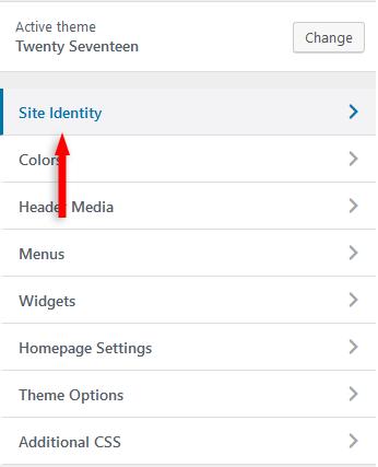wordpress site identity