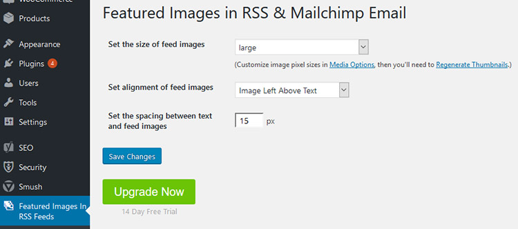featured images rss feed mailchimp plugin