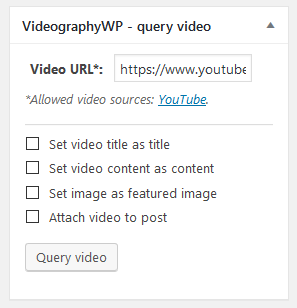 videographywp plugin video query