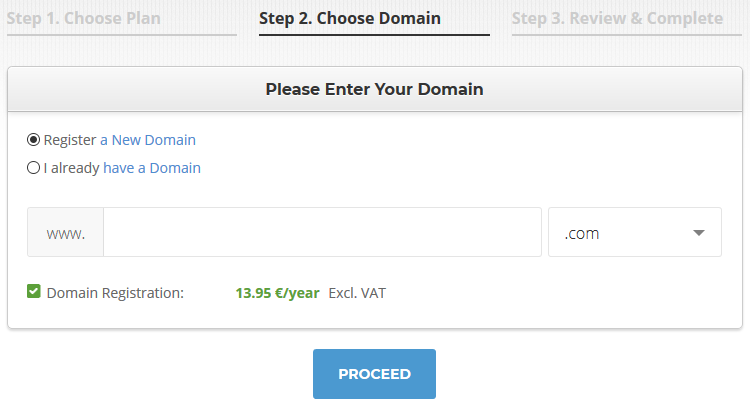 siteground wordpress hosting choosing a domain