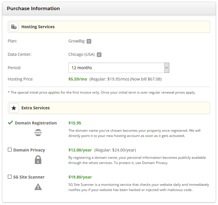 siteground wordpress hosting purchase information