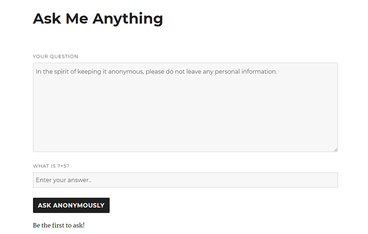 ask me anything page wordpress