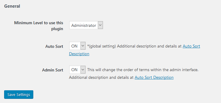category order and taxonomy terms order plugin settings