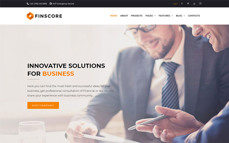 finscore elementor business wordpress theme