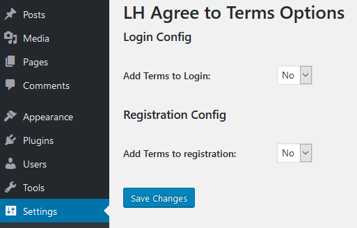 lh agree to terms options
