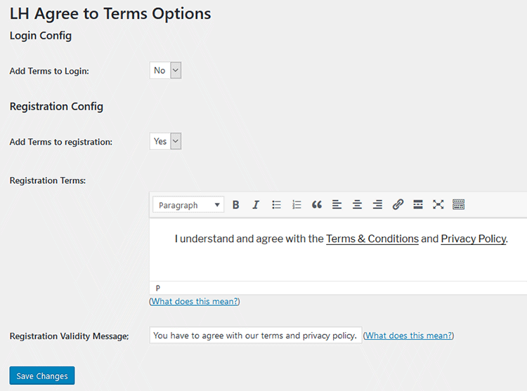 adding privacy policy and terms checkbox wordpress registration form
