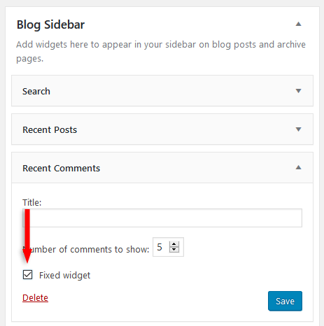 make wordpress widget sticky