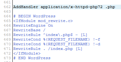 change php version wordpress .htaccess