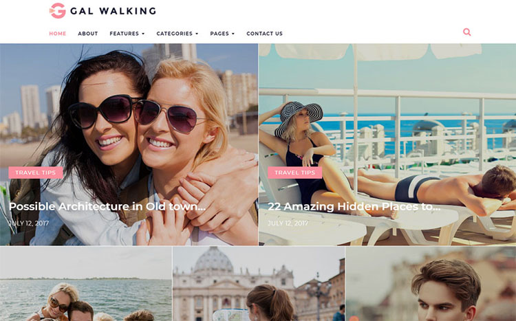 gal walking wordpress travel theme
