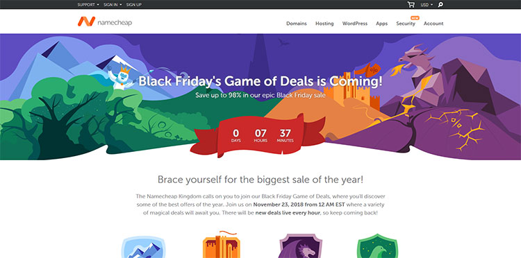 namecheap black friday and cyber monday wordpress deal