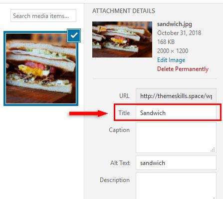 sandwich image title in wordpress
