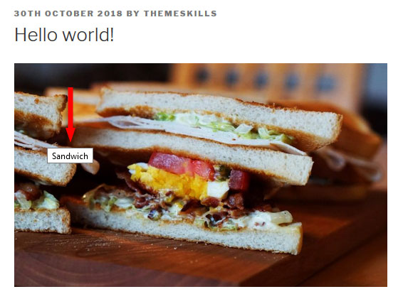wordpress image title on hover