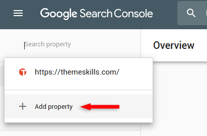 add new property in google search console