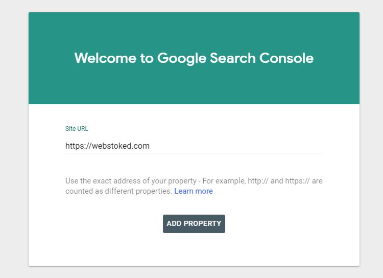 add wordpress website url google search console