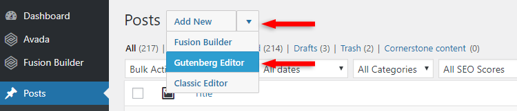 select the gutenberg editor in avada