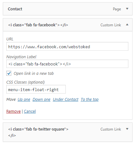 custom link settings wordpress