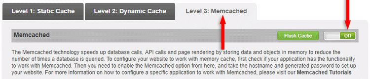 enable memcaching supercacher siteground