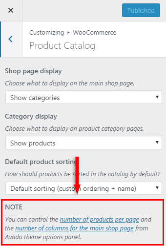 products per row woocommerce theme settings