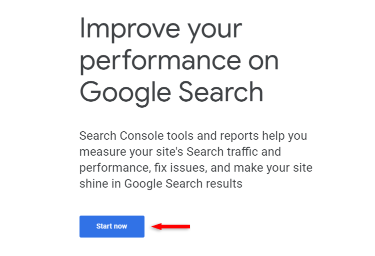 start now google search console