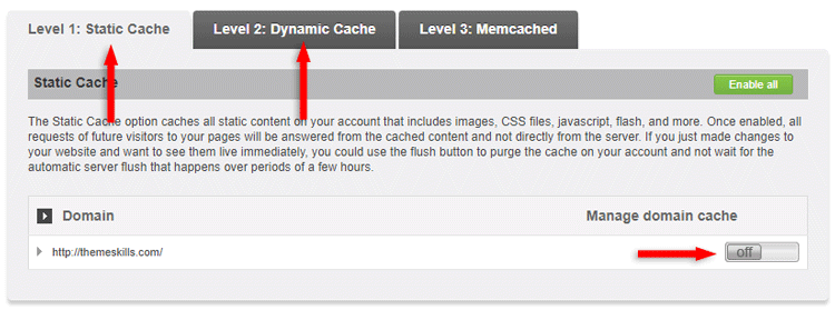 disable static and dynamic caching siteground supercacher