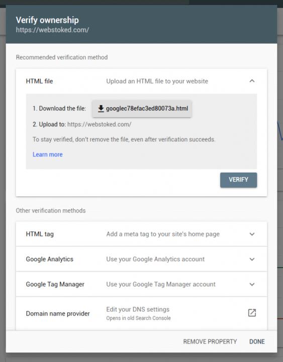 verify website google search console