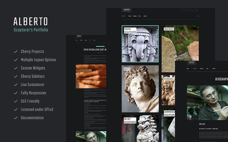 alberto sculpture wordpress theme