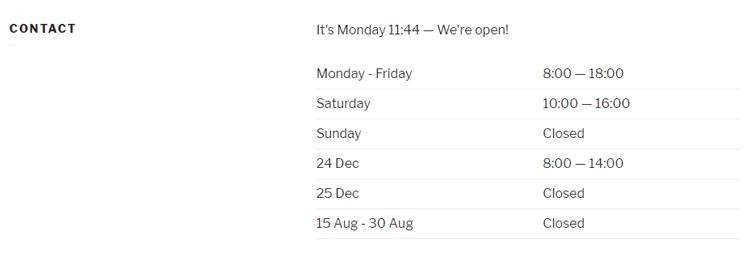 display business hours in wordpress
