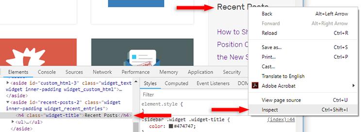 generatepress sidebar h4 heading tags