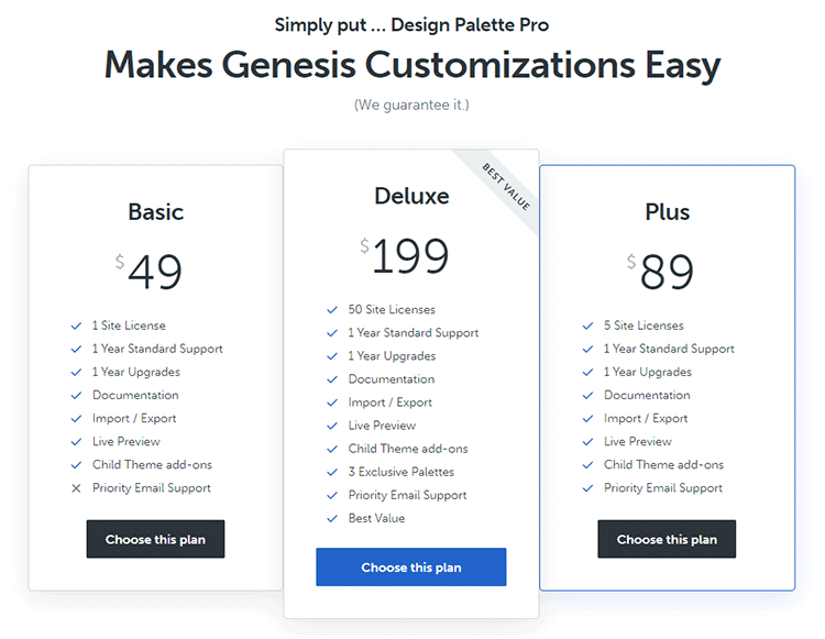 genesis design pallete pro pricing