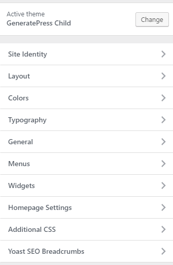 generatepress settings customize