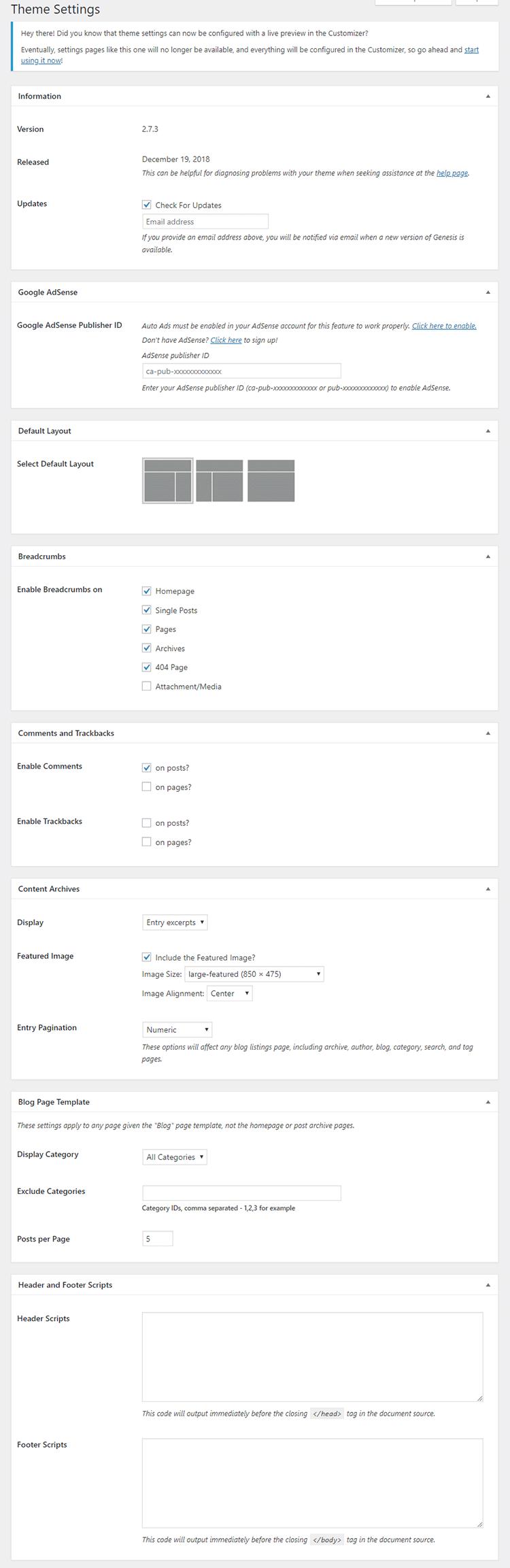 Genesis Framework settings