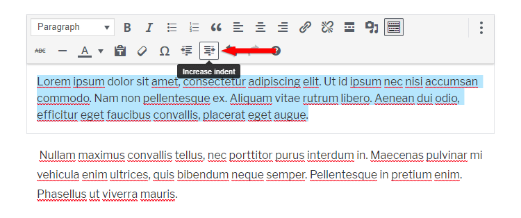 increase indent paragraph gutenberg classic editor