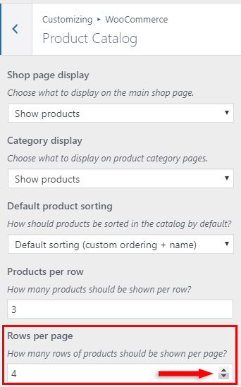 select number of rows per page in woocommerce