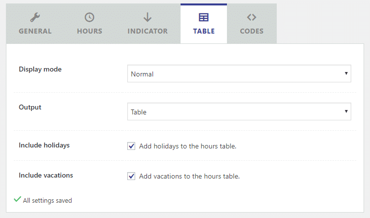table settings business hours indicator plugin