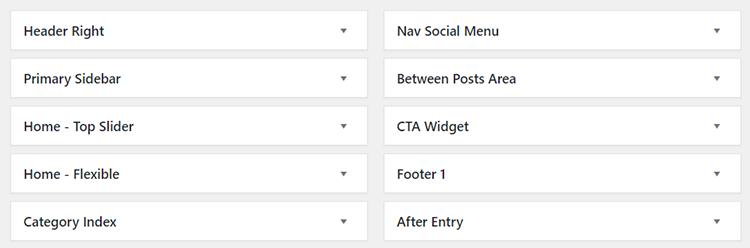 studiopress theme widgets