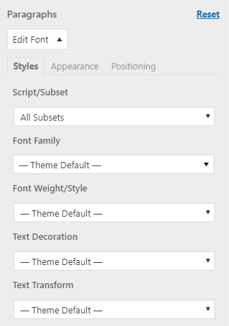 easy google fonts plugin paragraphs settings