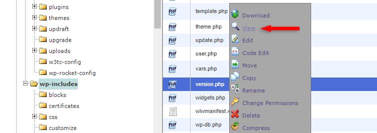 version.php wordpress file