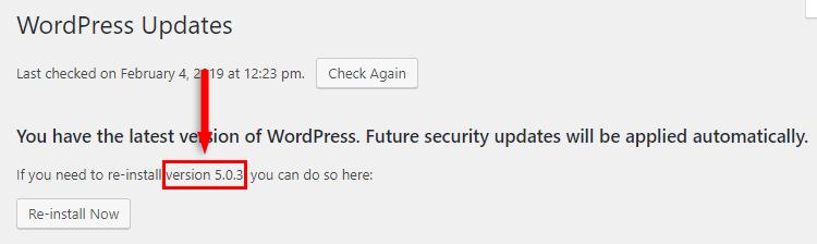 wordpress version updates
