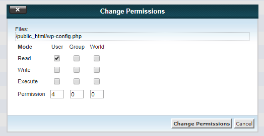 400 wp-config.php file permission