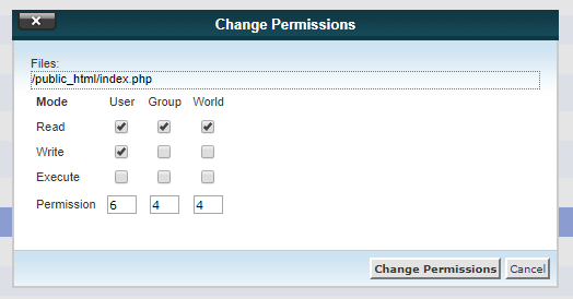644 wordpress file permission