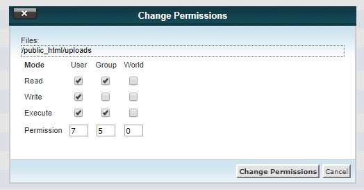 750 wordpress folder permission
