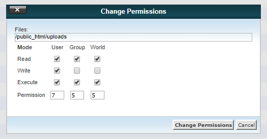 755 wordpress folder permission