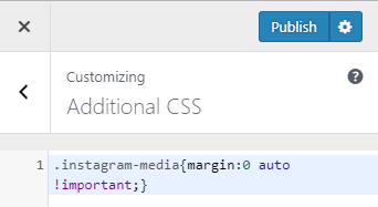 center align instagram post in wordpress css code